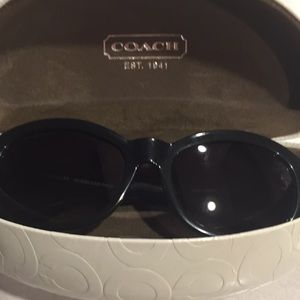 Coach black sunglasses with white cases